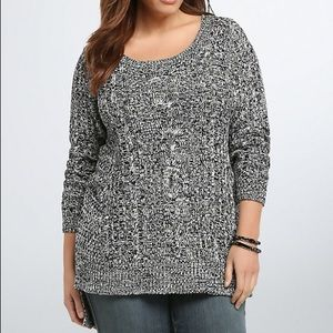 Torrid Marled Knit Cable Stitch Sweater Side Slit